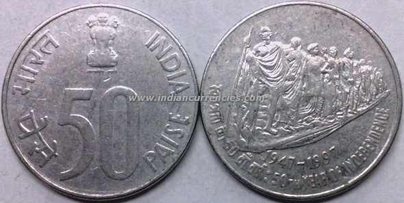 50 Paise of 1997 - 50th Year Of Independence - Kolkata Mint
