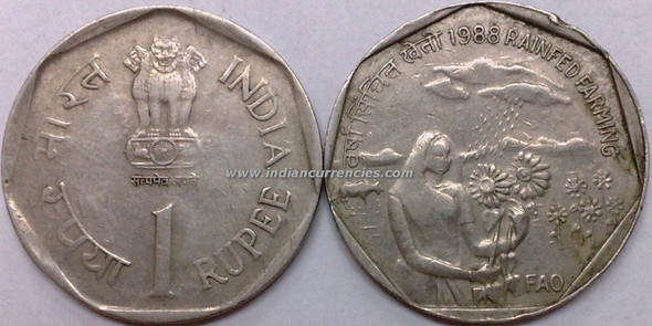 1 Rupee of 1988 - Rainfed Farming (FAO) - Kolkata Mint