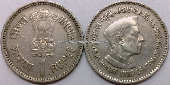 1 Rupee of 1989 - Jawaharlal Nehru Centenary - Kolkata Mint