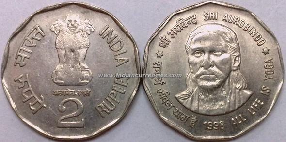 2 Rupees of 1998 - Sri Aurobindo (All Life Is Yoga) - Kolkata Mint