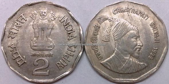 2 Rupees of 1999 - Chhatrapati Shivaji - Kolkata Mint