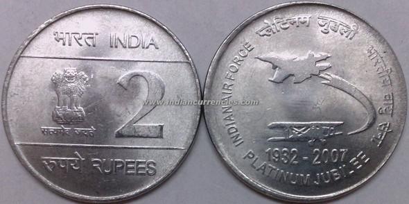 2 Rupees of 2007 - Indian Air Force Platinum Jubilee - Kolkata Mint