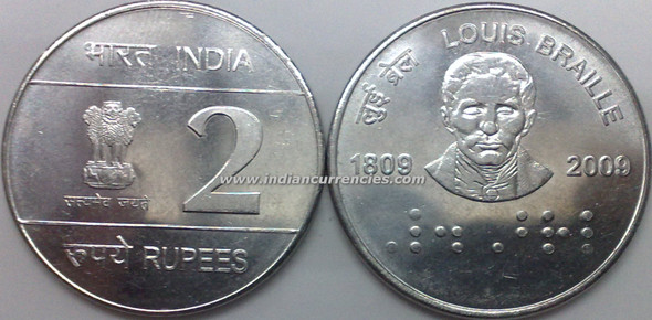 2 Rupees of 2009 - Louis Braille 1809-2009 - Kolkata Mint