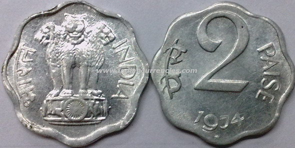 2 Paise of 1974 - Hyderabad Mint - Star