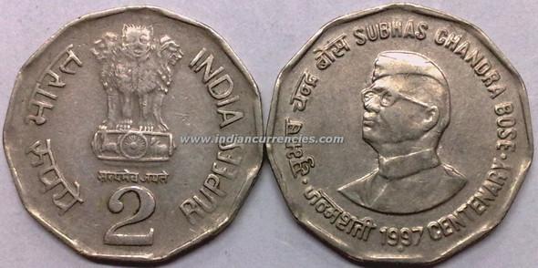 2 Rupees of 1997 - Subhas Chandra Bose Centenary - Noida Mint
