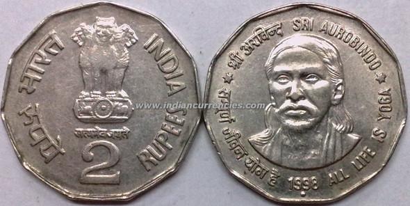 2 Rupees of 1998 - Sri Aurobindo (All Life Is Yoga) - Noida Mint