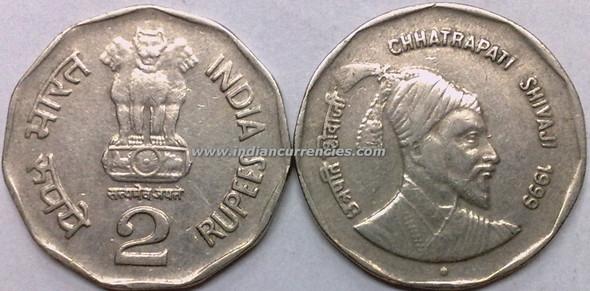 2 Rupees of 1999 - Chhatrapati Shivaji - Noida Mint