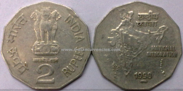 2 Rupees of 1998 - Foreign Mint - Pretoria M in Oval