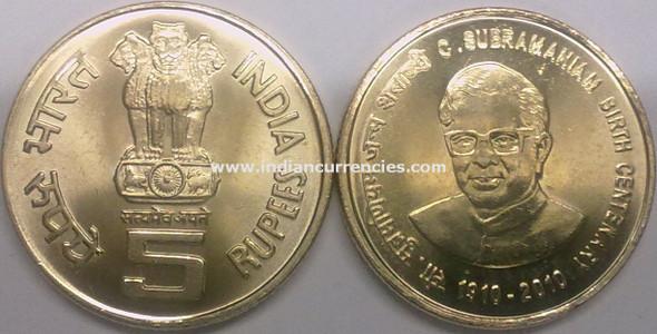 5 Rupees of 2010 - C. Subramaniam Birth Centenary 1910-2010 - Kolkata Mint