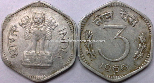 3 Paise of 1966 - Hyderabad Mint - Dot in Diamond