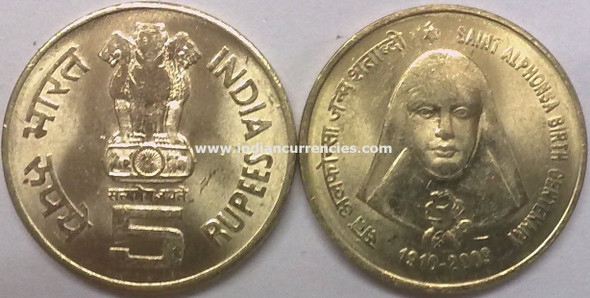 5 Rupees of 2009 - Saint Alphonsa Birth Centenary 1910-2009 - Kolkata Mint