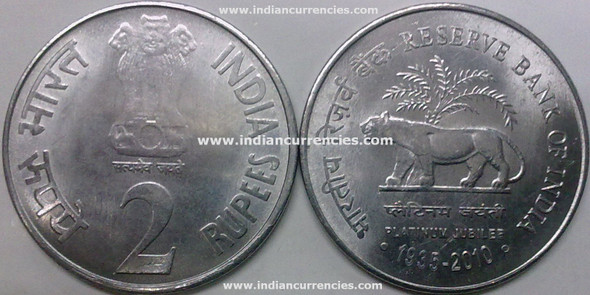 2 Rupees of 2010 - Reserve Bank Of India Platinum Jubilee 1935-2010 - Kolkata Mint