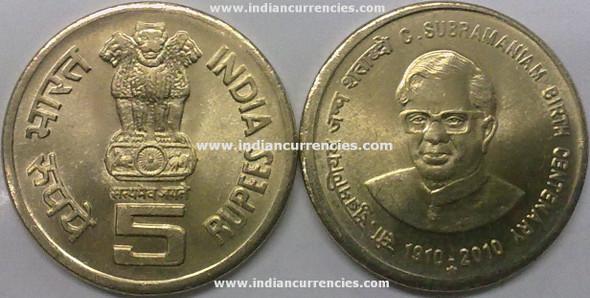 5 Rupees of 2010 - C. Subramaniam Birth Centenary 1910-2010 - Hyderabad Mint