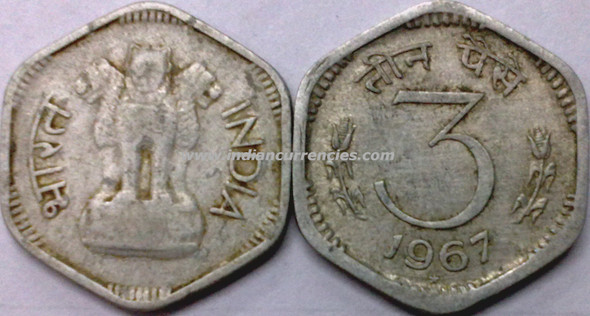 3 Paise of 1967 - Hyderabad Mint - Star