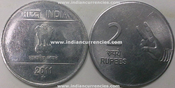2 Rupees of 2011 - Hyderabad Mint - Star - Mudra