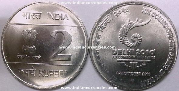 2 Rupees of 2010 - XIX Commonwealth Games 2010 Delhi - Hyderabad Mint