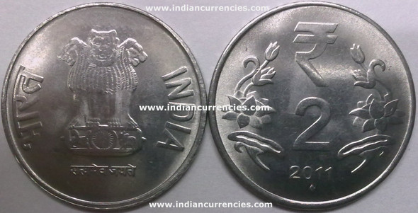2 Rupees of 2011 - Mumbai Mint - Diamond - R Symbol