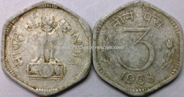 3 Paise of 1968 - Hyderabad Mint - Star