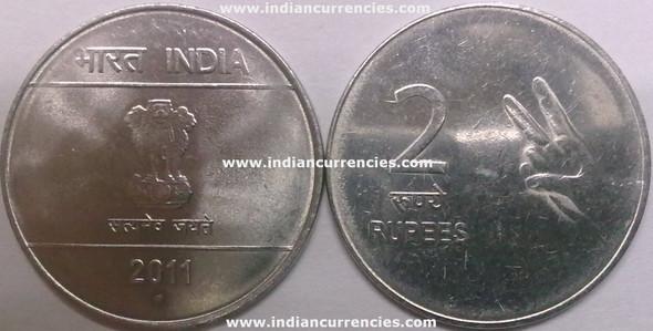 2 Rupees of 2011 - Noida Mint - Round Dot - Mudra