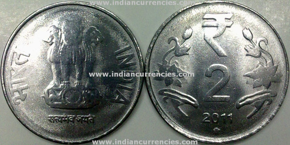 2 Rupees of 2011 - Hyderabad Mint - Star - R Symbol