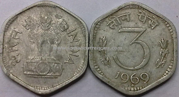 3 Paise of 1969 - Hyderabad Mint - Star