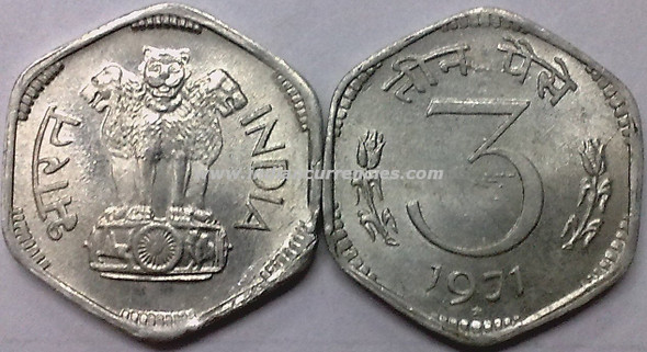 3 Paise of 1971 - Hyderabad Mint - Star