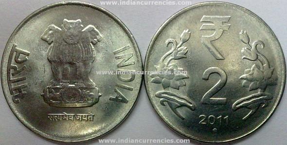 2 Rupees of 2011 - Noida Mint - Round Dot - R Symbol