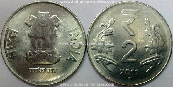 2 Rupees of 2011 - Noida Mint - Round Dot - R Symbol