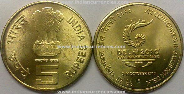 5 Rupees of 2010 - XIX Commonwealth Games 2010 Delhi - Noida Mint