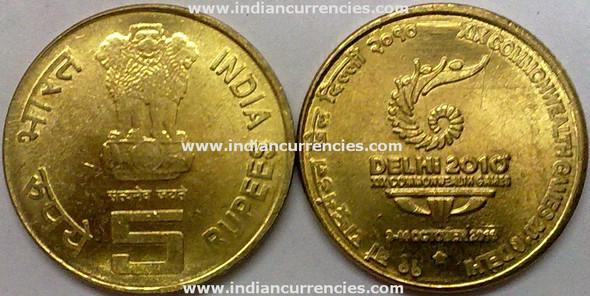 5 Rupees of 2010 - XIX Commonwealth Games 2010 Delhi - Hyderabad Mint