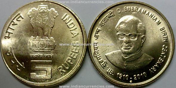 5 Rupees of 2010 - C. Subramaniam Birth Centenary 1910-2010 - Noida Mint