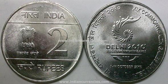 2 Rupees of 2010 - XIX Commonwealth Games 2010 Delhi - Noida Mint