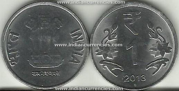 1 Rupee of 2013 - Noida Mint - Round Dot - R Symbol