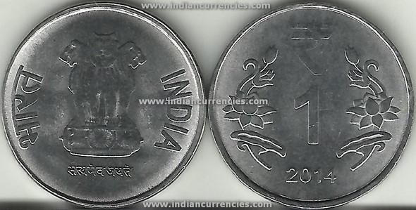 1 Rupee of 2014 -  Kolkata Mint - No Mint Mark - R Symbol