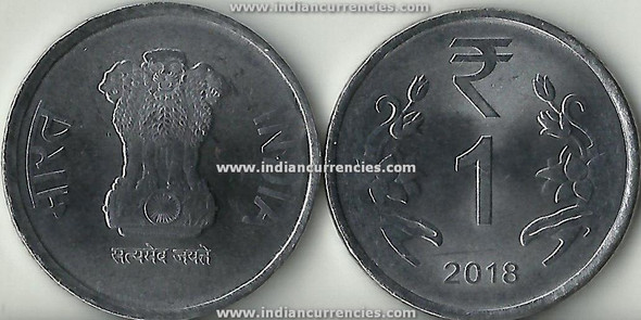 1 Rupee of 2018 - Kolkata Mint - No Mint Mark - R Symbol