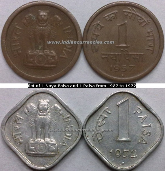 Regular Republic Coins Set of 1 Naya Paisa and 1 Paisa from 1957 to 1972