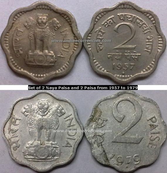 Regular Republic Coins Set of 2 Naya Paisa and 2 Paisa from 1957 to 1979