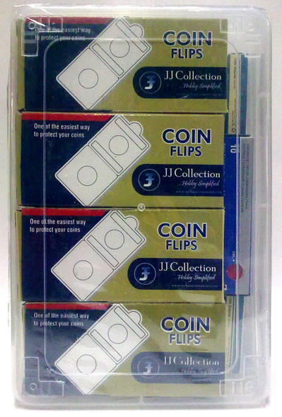 Coin Flip Complete Set of 10 different sizes with Box, Stapler & Pins