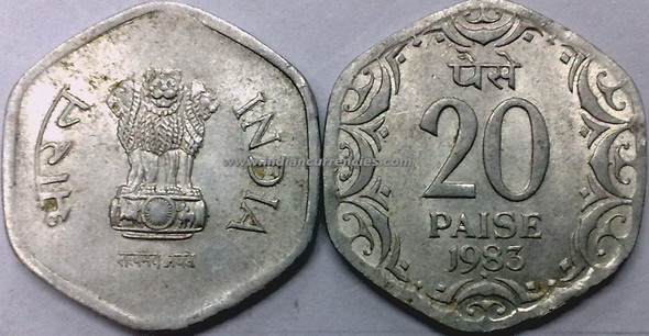 20 Paise of 1983 - Hyderabad Mint - Star