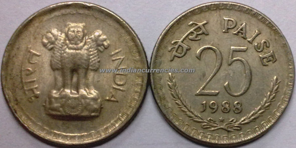 25 Paise of 1988 - Hyderabad Mint - Star - Copper-Nickel