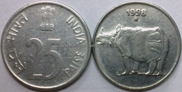 25 Paise of 1998 - Hyderabad Mint - Star
