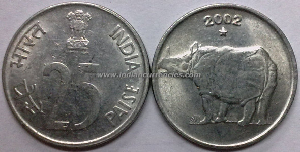 25 Paise of 2002 - Hyderabad Mint - Star