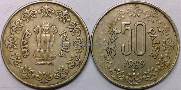 50 Paise of 1989 - Hyderabad Mint - Star - Copper-Nickel