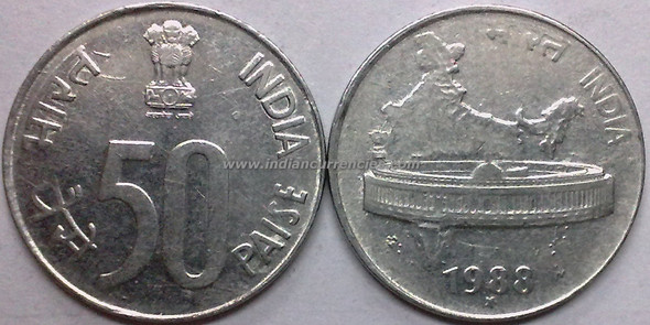 50 Paise of 1988 - Hyderabad Mint - Star - SS