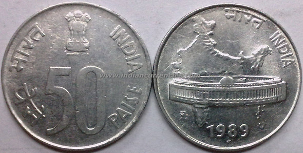 50 Paise of 1989 - Hyderabad Mint - Star - SS