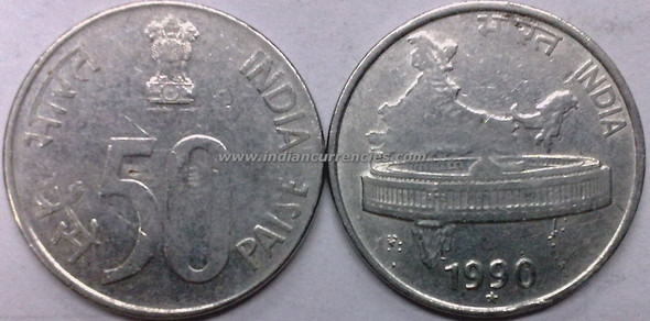 50 Paise of 1990 - Hyderabad Mint - Star - SS