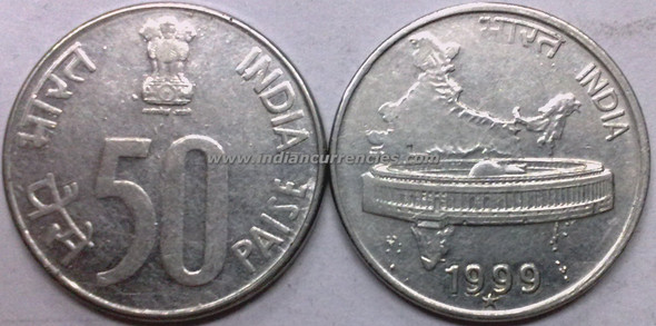 50 Paise of 1999 - Hyderabad Mint - Star