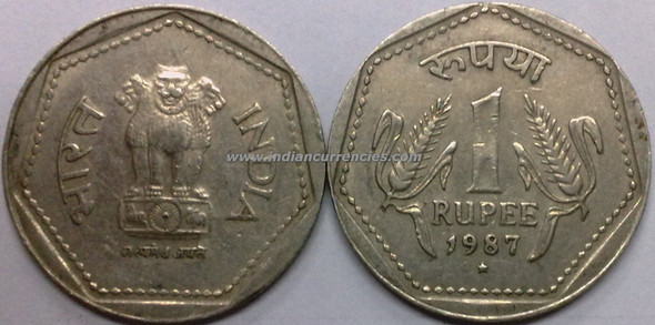 1 Rupee of 1987 - Hyderabad Mint - Star