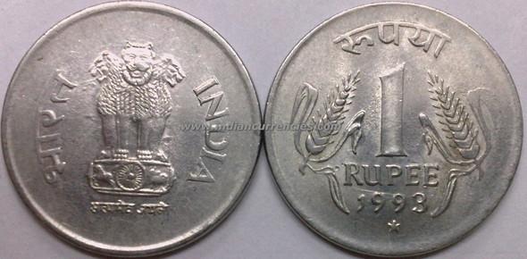 1 Rupee of 1993 - Hyderabad Mint - Star - SS