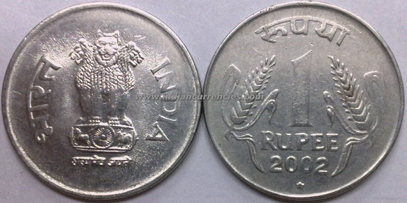 1 Rupee of 2002 - Hyderabad Mint - Star